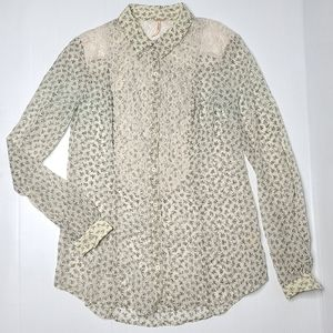 Free People Small Petite Lace Sheer Floral Top